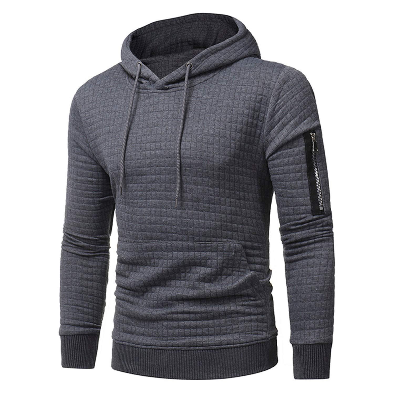 Cyose Fashion Men Long Sleeve Solid Color Hooded Male Hoodie Casual Sportswear