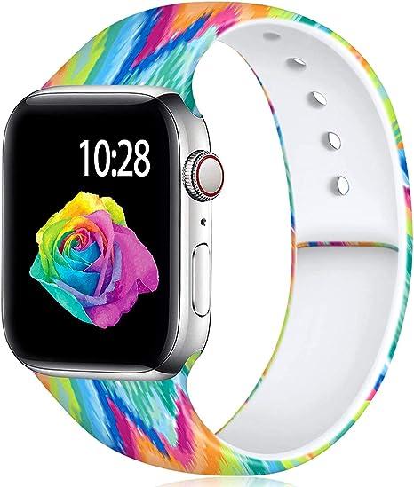 Imagen deYoumaofa Correa Compatible con Apple Watch 42mm 44mm, Correa de Silicona Repuesto Pulsera Deportivas para iWatch Series 5 Series 4 Series 3 Series 2 Series 1, 42mm/44mm S/M Arco Iris