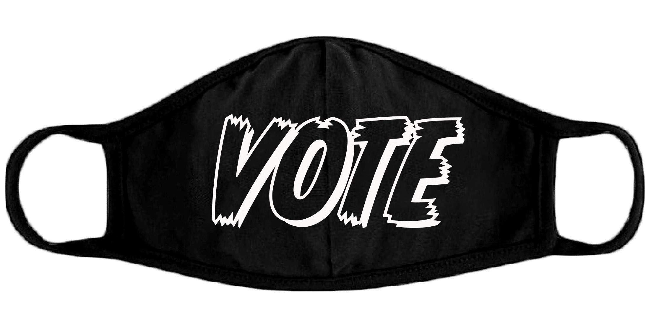 Pack of 2 - Vote Unisex 2 Layer Cotton Face Covering Washable and Reusable Black