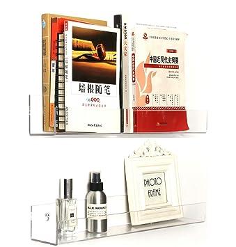 CY Craft 2 Pack Floating Wall Shelf And Display ShelvesAcrylic Invisible BookshelfModern