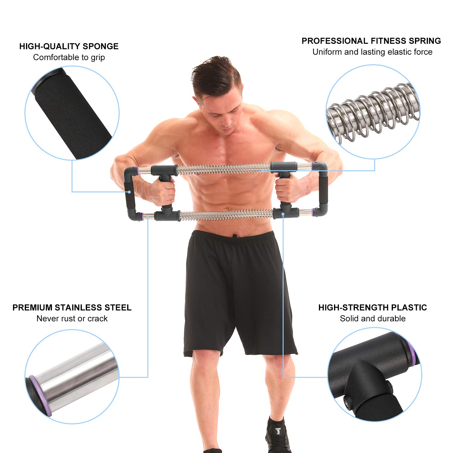 GoFitness Super Push Down Bar - Total Upper Body Workout Equipment, Press Down Machine - Chest Workout, Strength Training, Home Fitness by GoFitness (Image #5)