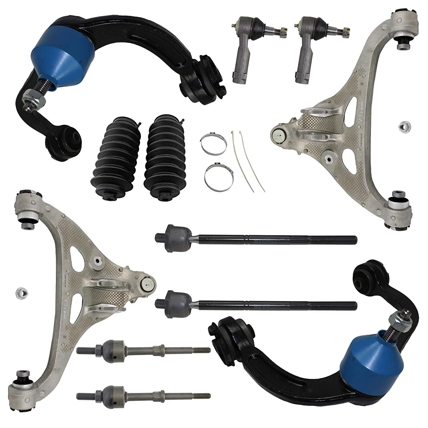 Detroit Axle Inner and Outer Tie Rods w//Rack Boots for 2005 2006 2007 2008 Ford F-150 2WD Base Playload - 12PC Front Upper Lower Control Arms w//Sway Bars 06-08 Lincoln Mark LT