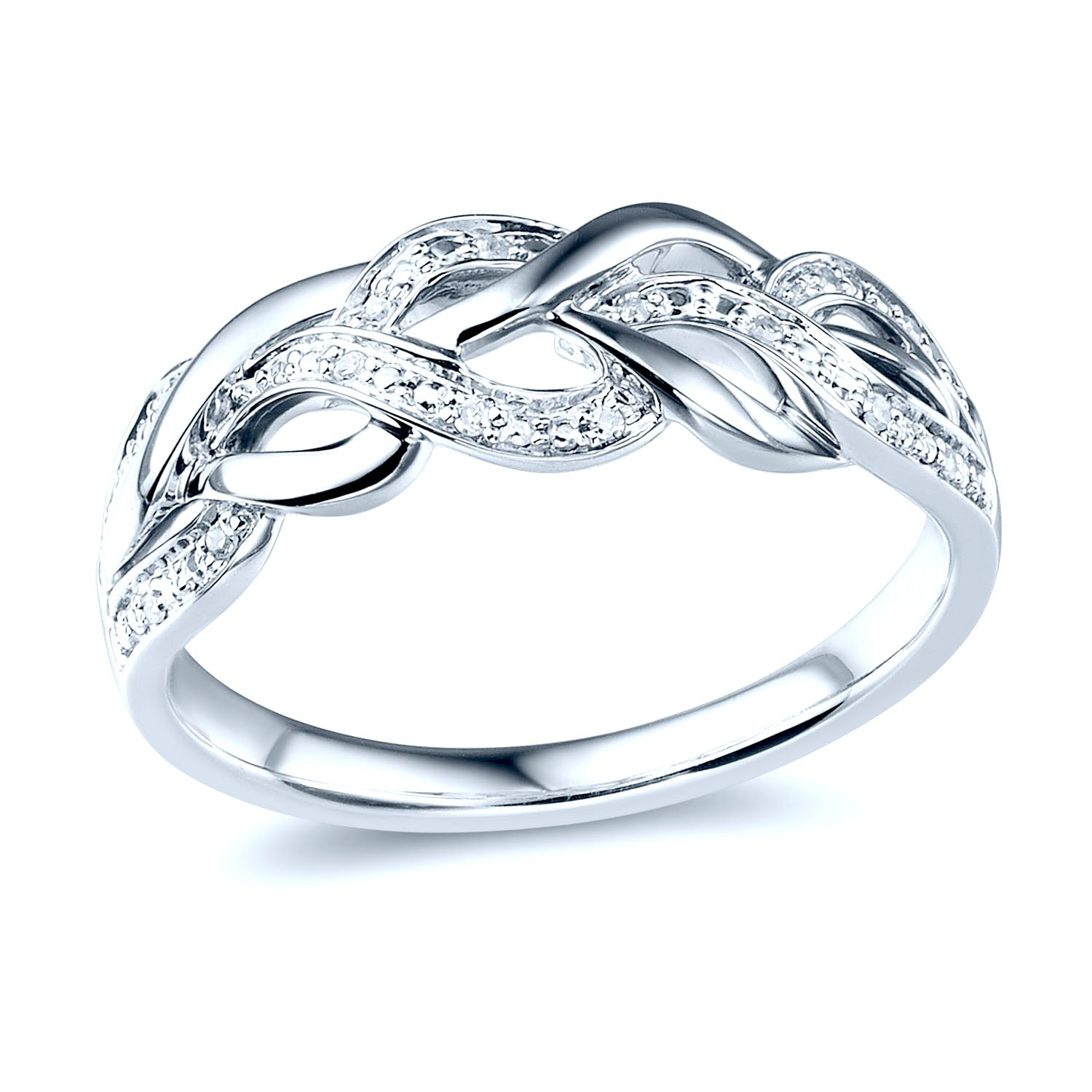 Diamond Wedding Anniversary Band in Rhodium Plated Sterling Silver