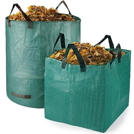 Bolsas para desechos de jardín 2 PCS Saco para residuos Bolsas de Basura de jardín y Saco de jardín Resistente Plegable Bolsas de Jardin Hechas de ...