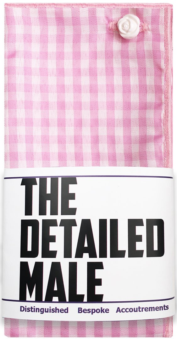 Light Pink & White Check w/ White Button Men's Pocket Square by The Detailed Male by The Detailed Male (Image #4)