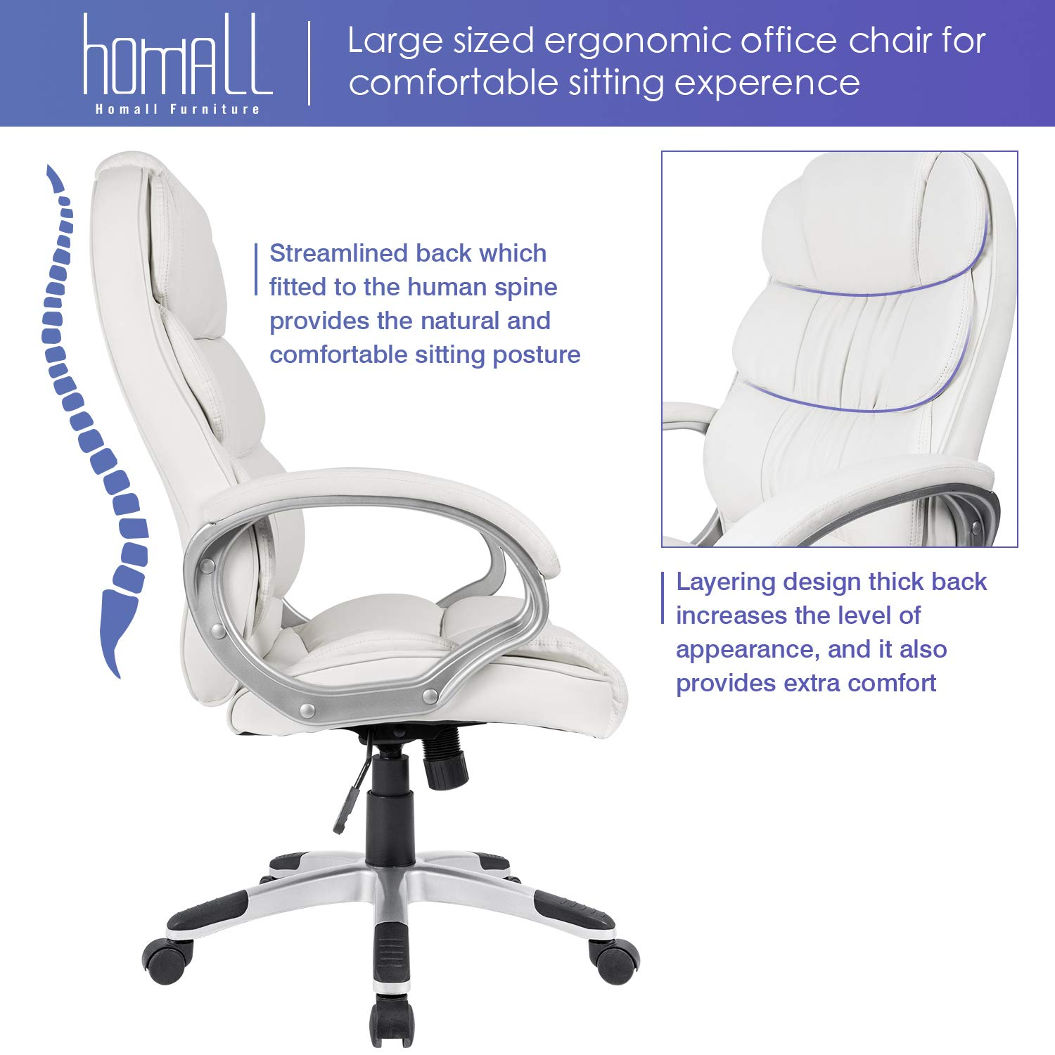 Homall Office Chair High Back Computer Desk Chair, PU Leather Adjustable Chair Ergonomic Boss Executive Management Swivel Task Chair with Padded Armrests (White) by Homall (Image #3)