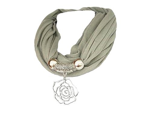 La Loria Sciarpa dei monili delle donne Rose fazzoletto da collo di moda con Pendente, sciarpa con ciondolo gioielli