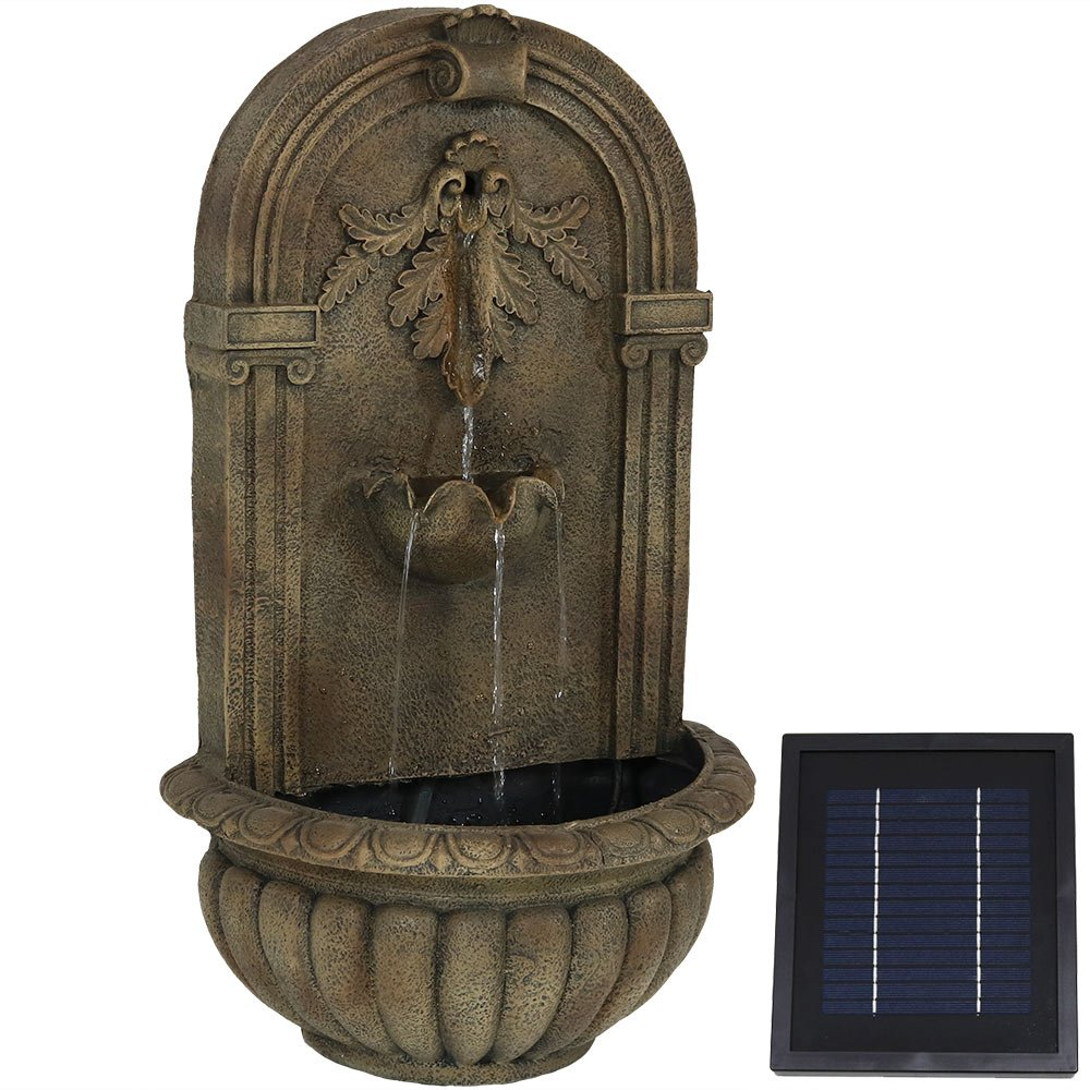 Sunnydaze Florence Solar-on-Demand Wall Fountain, Florentine Stone Finish, Solar on Demand Feature by Sunnydaze Decor
