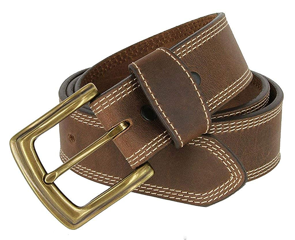 Pele Belt Men Brown Genuine Italian Calfskin 3 White Stitches Gold Buckle