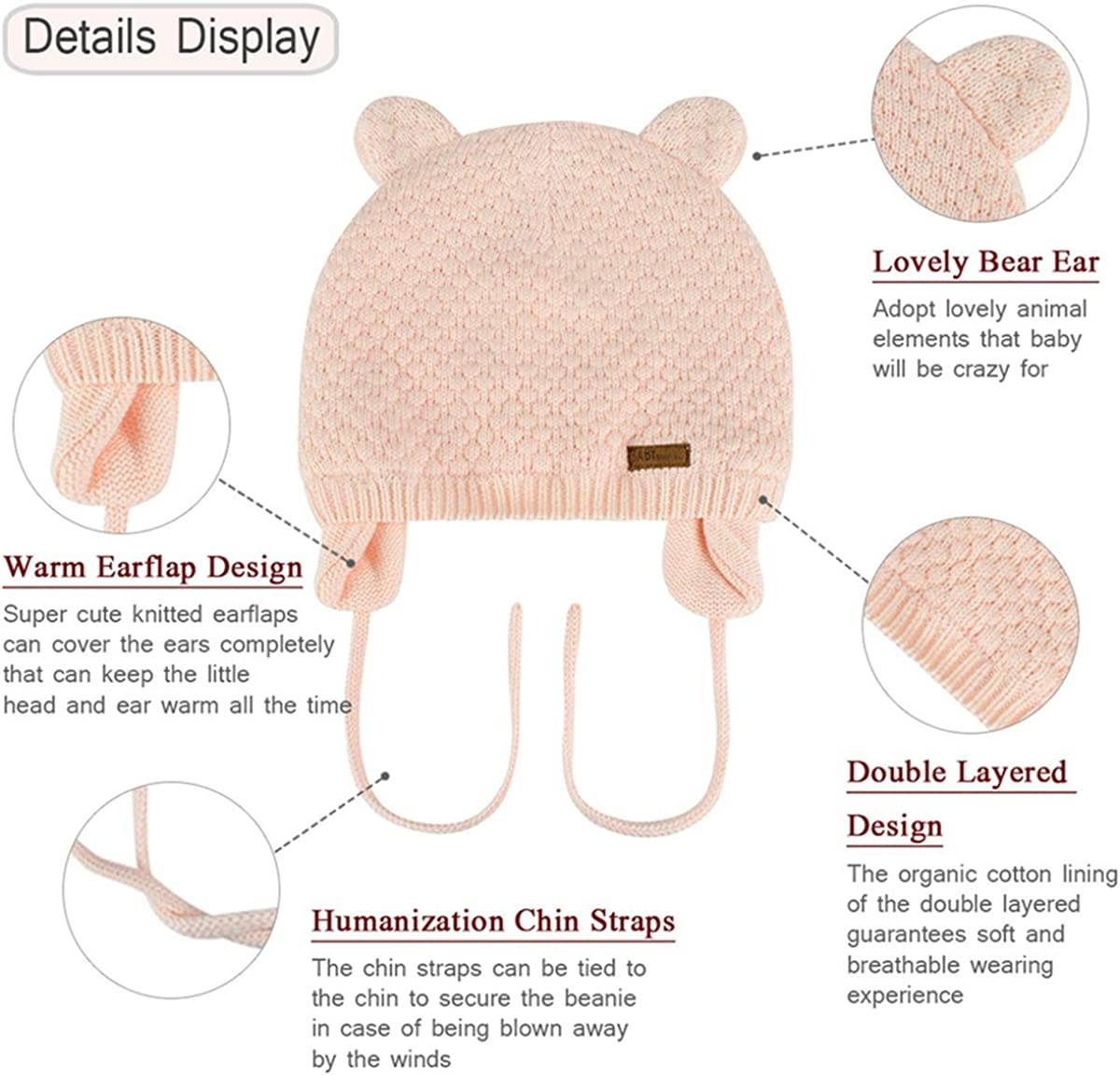 heekpek Baby Winter Hat for Boys Winter Toddler Girl Earflap Beanie Warm Infant Thick Knit Caps for Kids Earflap Beanie Hat