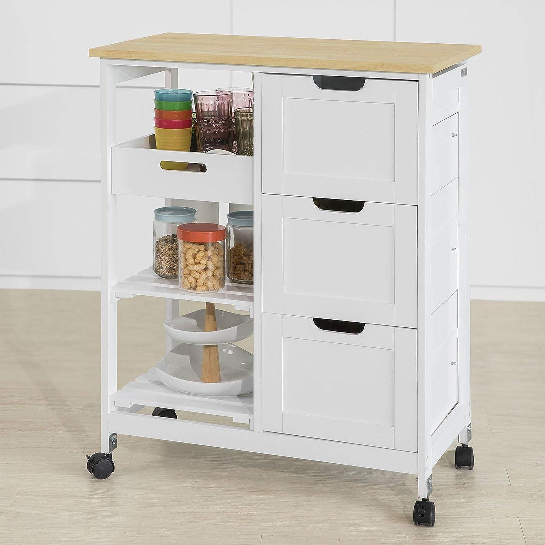 SoBuy® FKW13-W Chariot de Service Desserte de Cuisine à roulettes Table  Roulante Meuble de Rangement pour Cuisine et Salon L13Xp13xH13cm