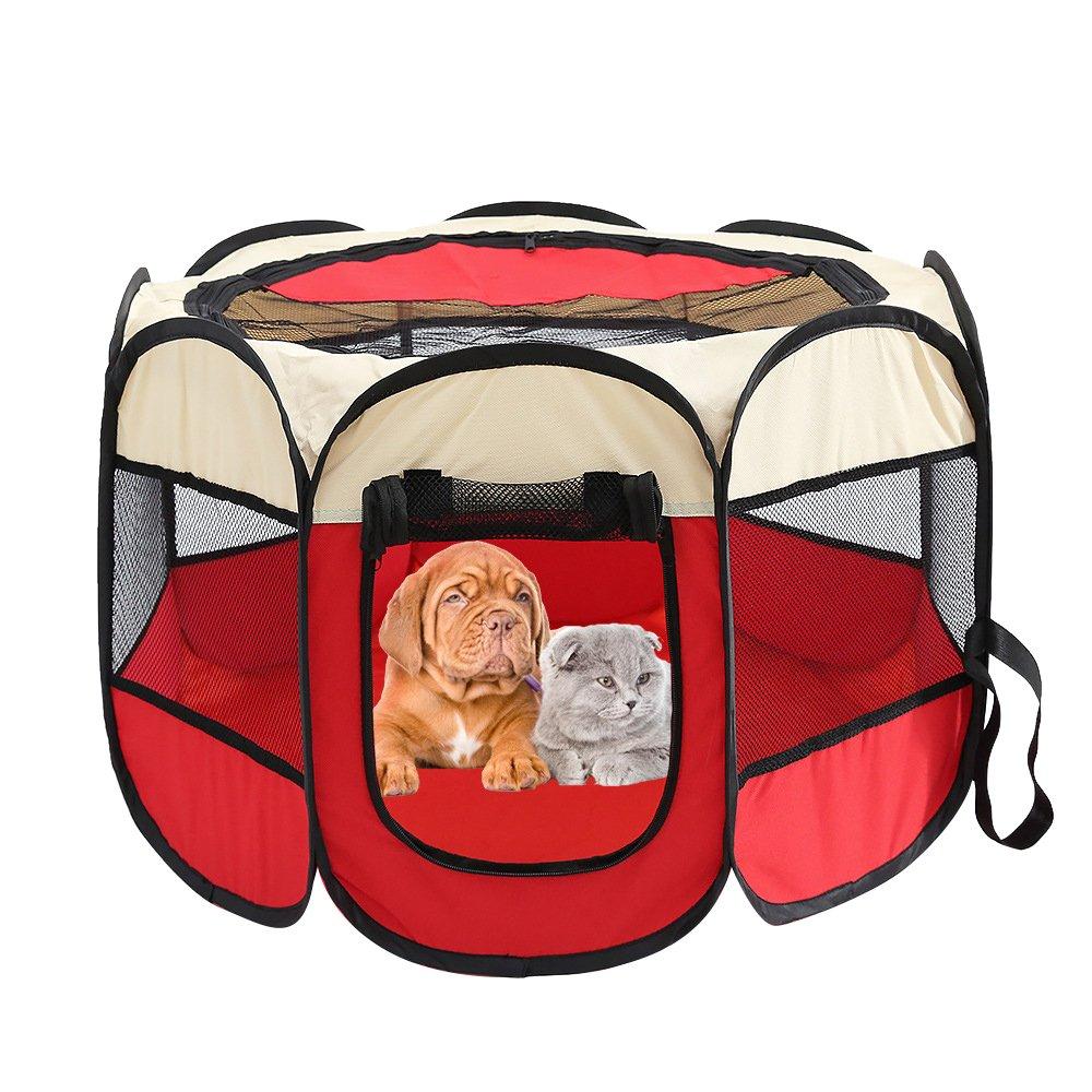 Roblue Tente Clôture pour Chiens Portable Pliable Cage de Pets en 600DTissu Oxford Bleu YEAH