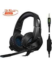 Rimila Stereo Gaming Headset for PS4, PC, Xbox One Xbox 360 Controller, Noise Cancelling Over Ear Headphones with Mic, Bass Surround, Soft Memory Earmuffs for Laptop Mac Switch Games
