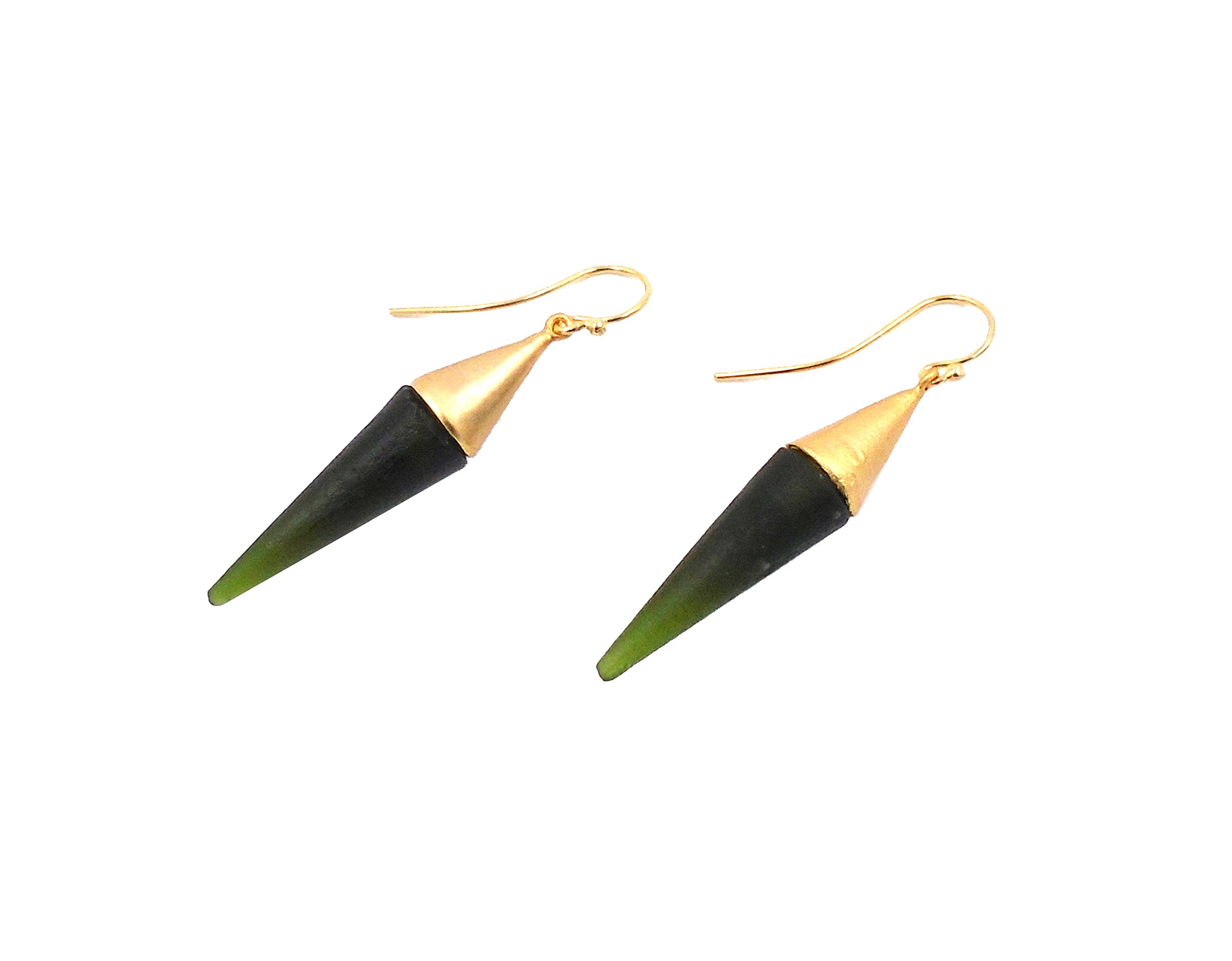 Michael Vincent Michaud- Glass ''Large Spike Hanging Earring'' in Dark Green