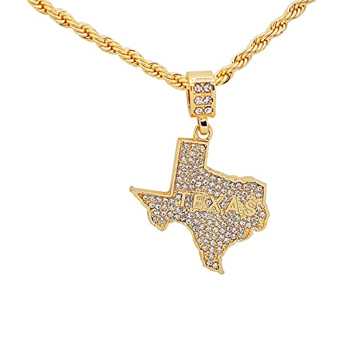 Amazon com: Yellow Gold-Tone Hip Hop Bling Lone Star State