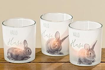 Windlicht Teelicht Hase Osterhase Ostern Glas 3 Er Set