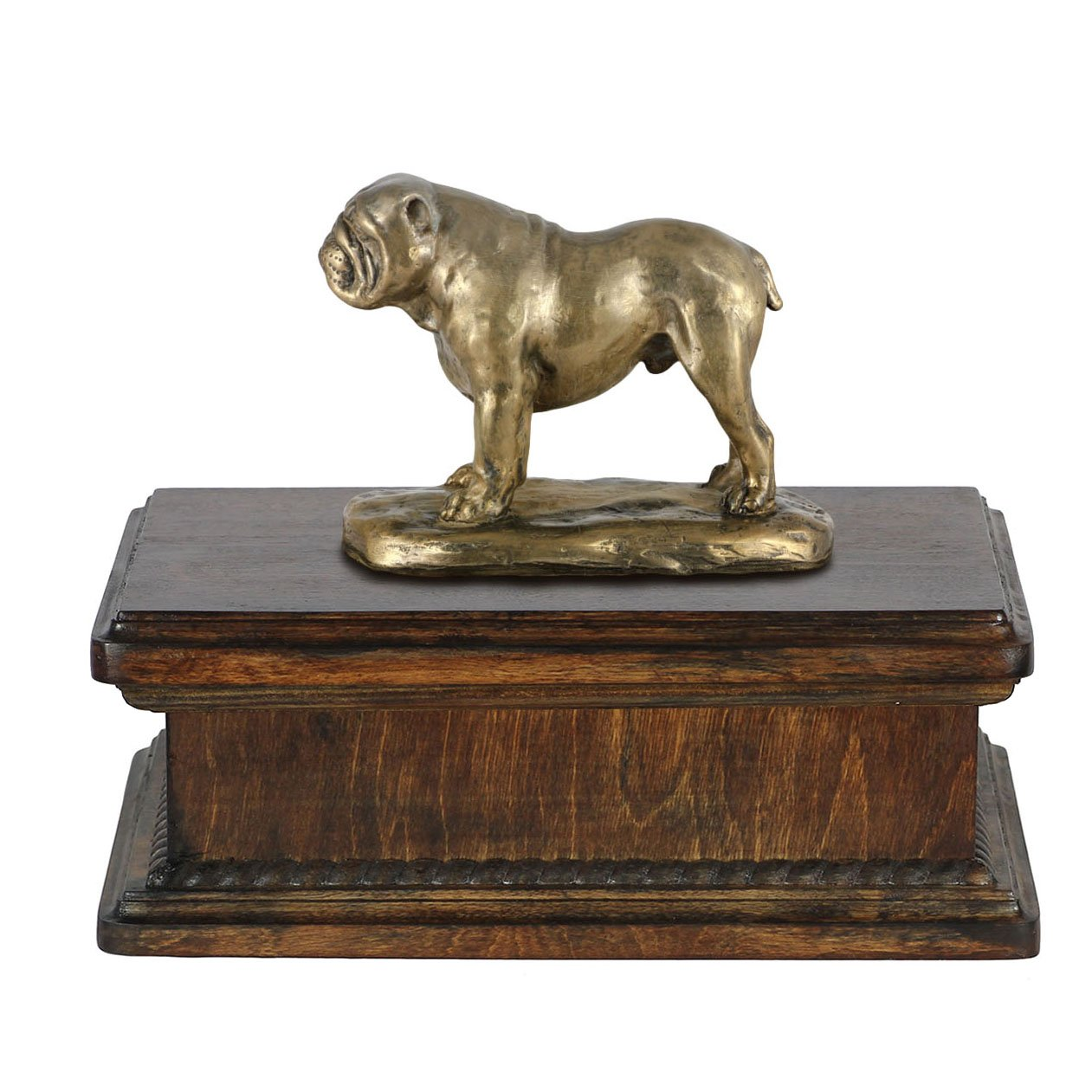 English Bulldog, memorial, urn for dog's ashes, with dog statue, exclusive, ArtDog