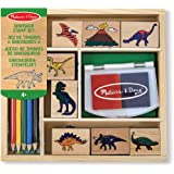 Melissa & Doug 1633 Wooden Stamp Set: Dinosaurs - 8 Stamps, 5 Colored Pencils, 2-Color Stamp Pad