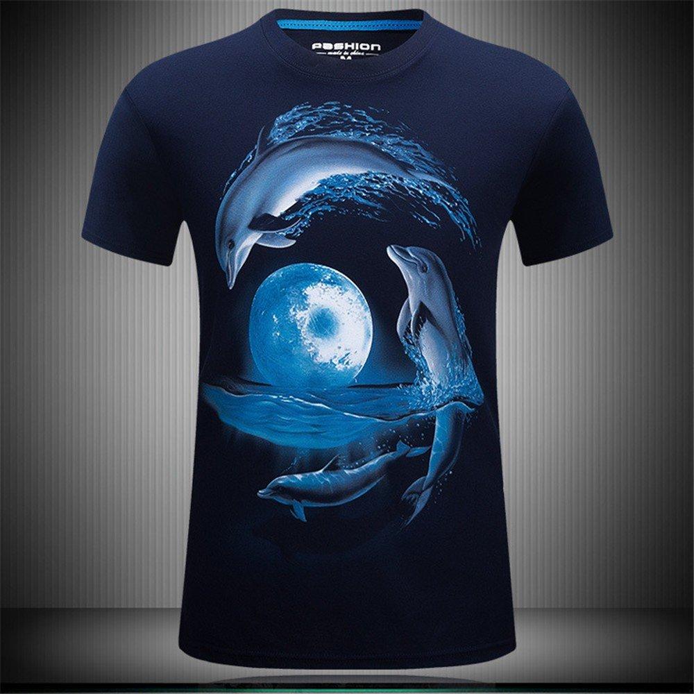 WHLTX 3D-Druck - T-Shirt Confort à la Mode en Coton pour Hommes