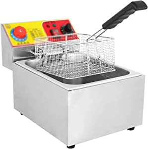 Stainless Steel Tank Deep Fat Fryer,Desktop Electric Fryer With Timer For Commercial And Home Use Food Cooking French Fries Chicken Shrimp 2117