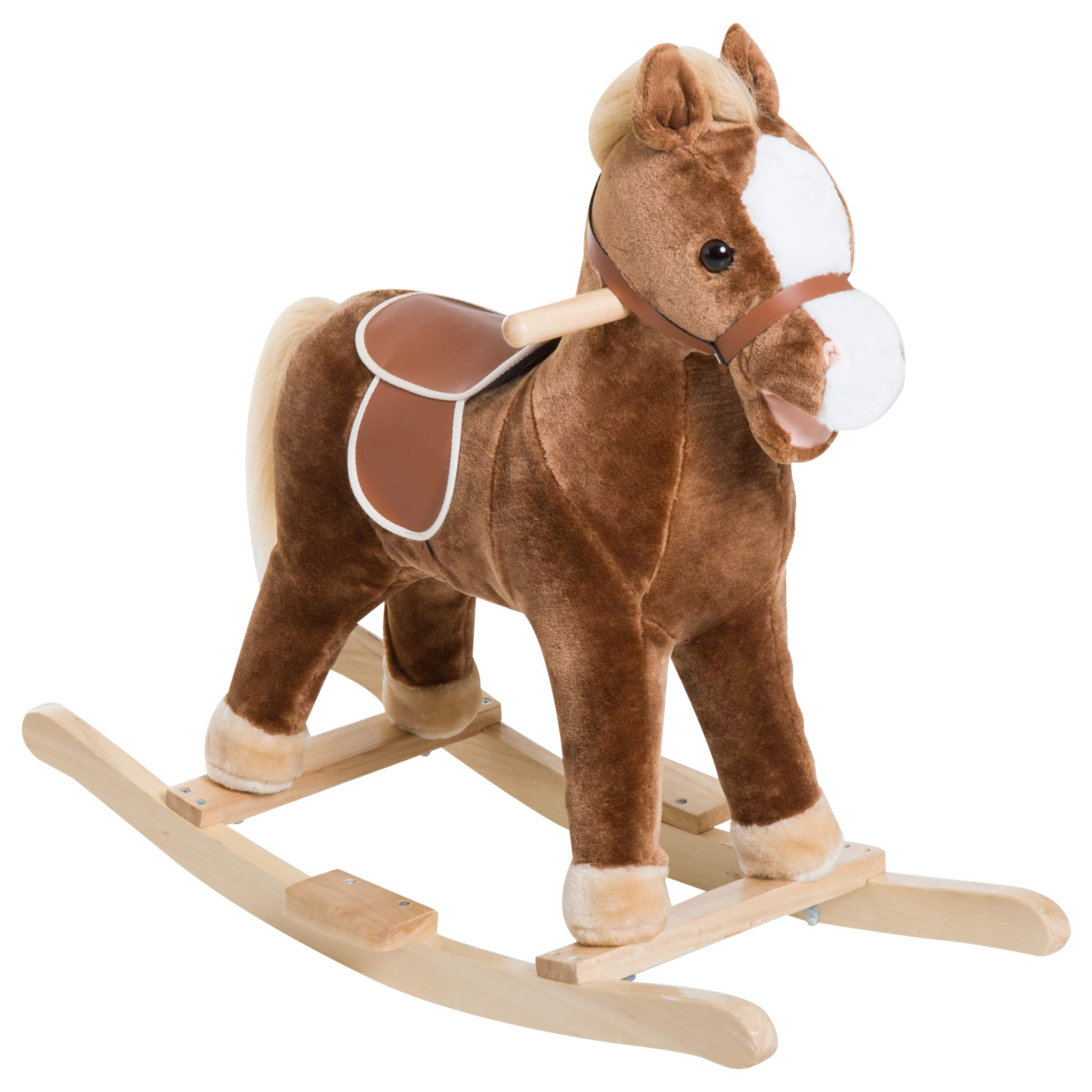 Qaba Kids Plush Toy Rocking Horse Ride on with Realistic Sounds - Brown