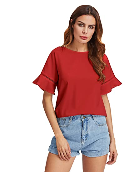 MakeMeChic Women s Loose Short Sleeve Round Neck Solid Summer T-shirt Tops  Blouse Red XS 14764c2bc