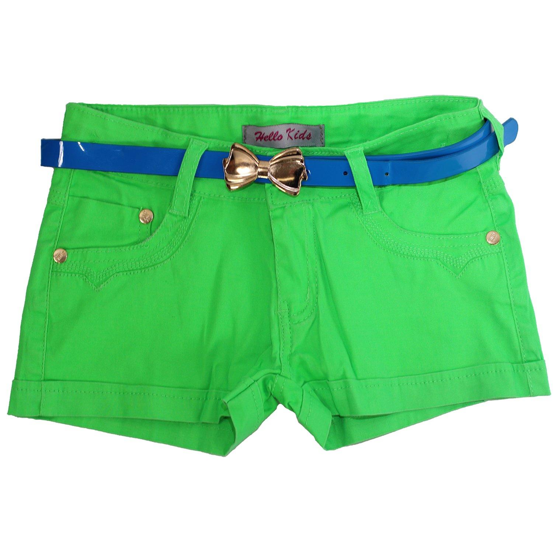 M/ädchen Hot Pants Hotpants Jeans Kurze Kinder Hose mit G/ürtel Panty Shorts Neon
