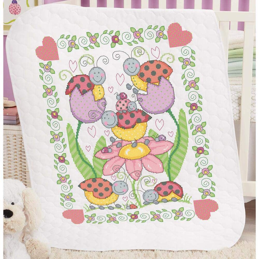 Herrschners Pre-Quilted Lovely Ladybugs Baby Quilt Kit Stamped Cross-Stitch Kit by Herrschners®
