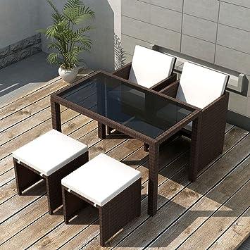 Tidyard Garten Essgruppe 11 Tlg Poly Rattan Gartenmöbel Set