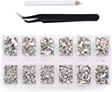 4200 Pieces Flat Back AB Crystal Nail Art Rhinestones for Nail Art Decorations, Round Crystal Gems Stickers for Clothes and Craft, 1.5 mm - 4.8 mm, 6 Sizes