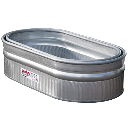 Behlen Country 50130198K 2' x 1' x 4' Round-End Galvanized Steel Stock Tank  Nested Bundle, Approximately 50 Gallon (Pack of 2 Tanks)