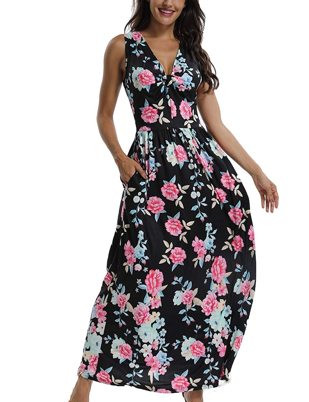 Black UAress Women's Floral Maxi Dresses Sleeveless V Neck Beach Casual Dress with Pockets