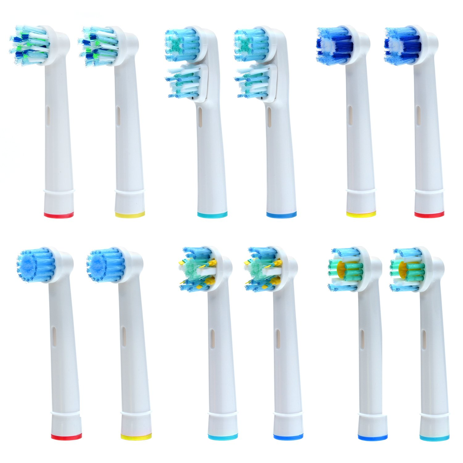 AGPtEK® 8PCS Premium Replacement Toothbrush Heads Set for Oral B Braun - 4 Regular Brush Heads & 4 Soft Round Heads with Health & Safety Standard for Total Mouth Cleaning HB0026-MXFBA