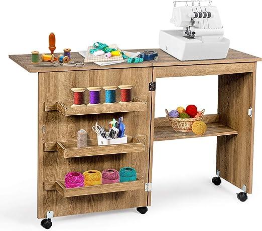 Costway - Mesa plegable para máquina de coser con 3 estantes para bobinas y ruedas con bloqueo de madera: Amazon.es: Hogar