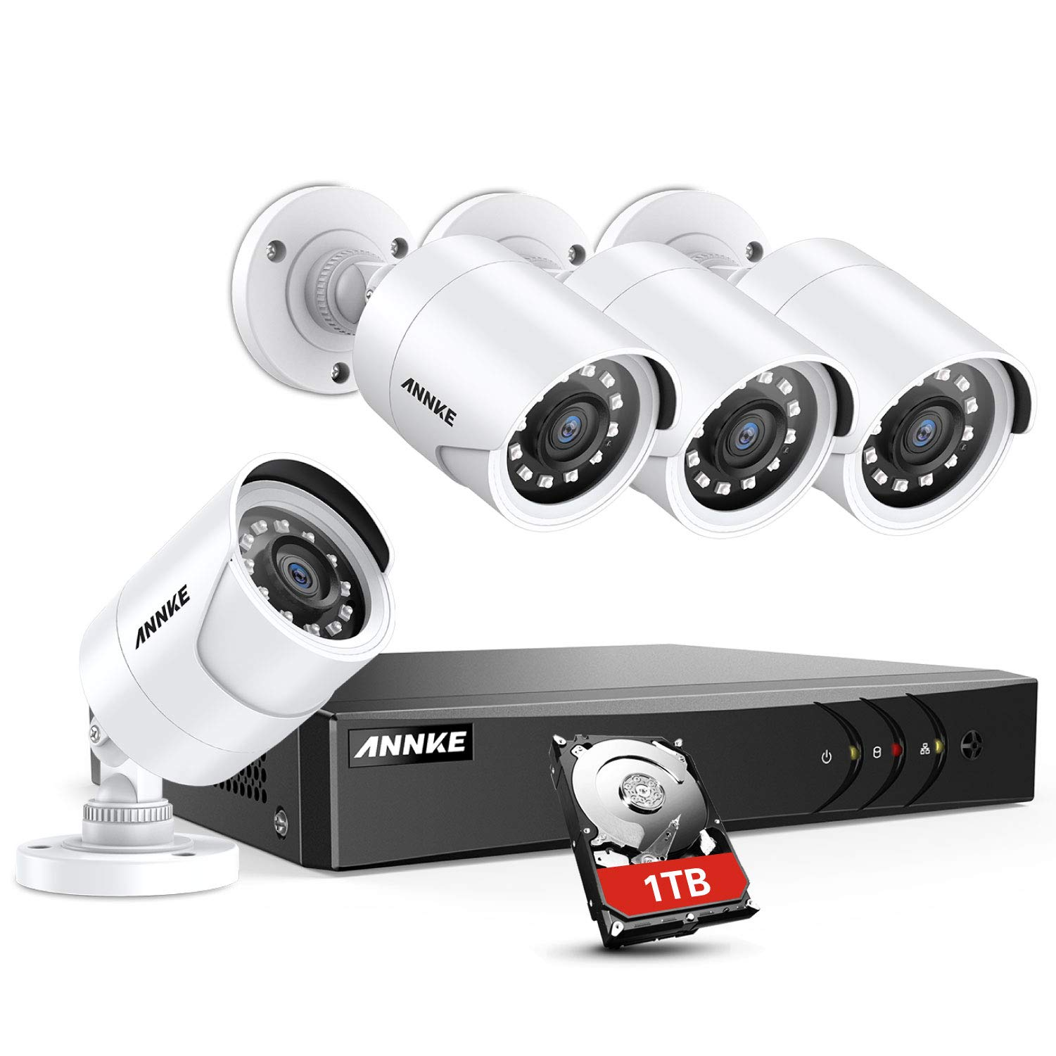 ANNKE 8 Channel Security Camera System 5-in-1 1080P lite H.264+ Wired DVR with 1TB Surveillance Hard Disk Drive and 4X 1080P HD Weatherproof Bullet CCTV Cameras with IR-cut Night Vision LEDs