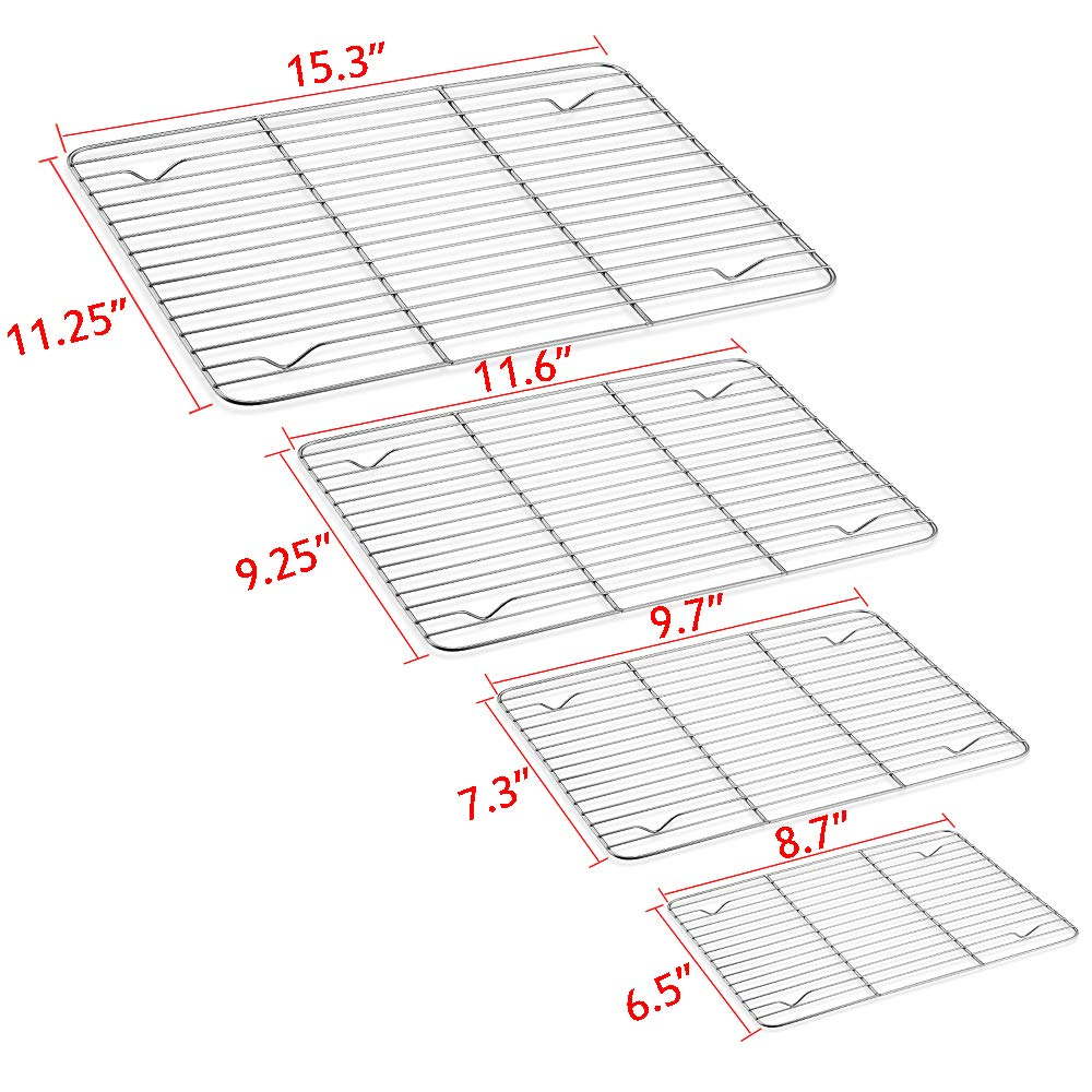 Baking Sheet and Rack Set, E-far Stainless Steel Rimmed Cookie Sheet Baking Pans Toaster Oven Tray with Cooling Rack, Non Toxic & Healthy, Rust Free & Dishwasher Safe - 8 Pieces (4 Pans + 4 Racks) by E-far (Image #5)