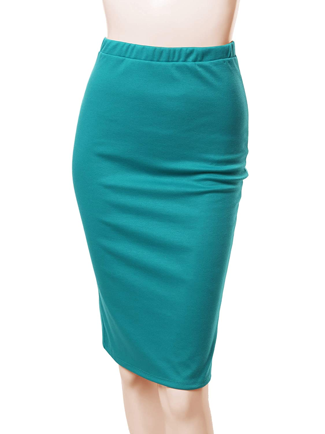 Aawskm0005 Jade Awesome21 Women's Fitted Stretch Solid Print High Waist Midi Pencil Skirt  Made in USA