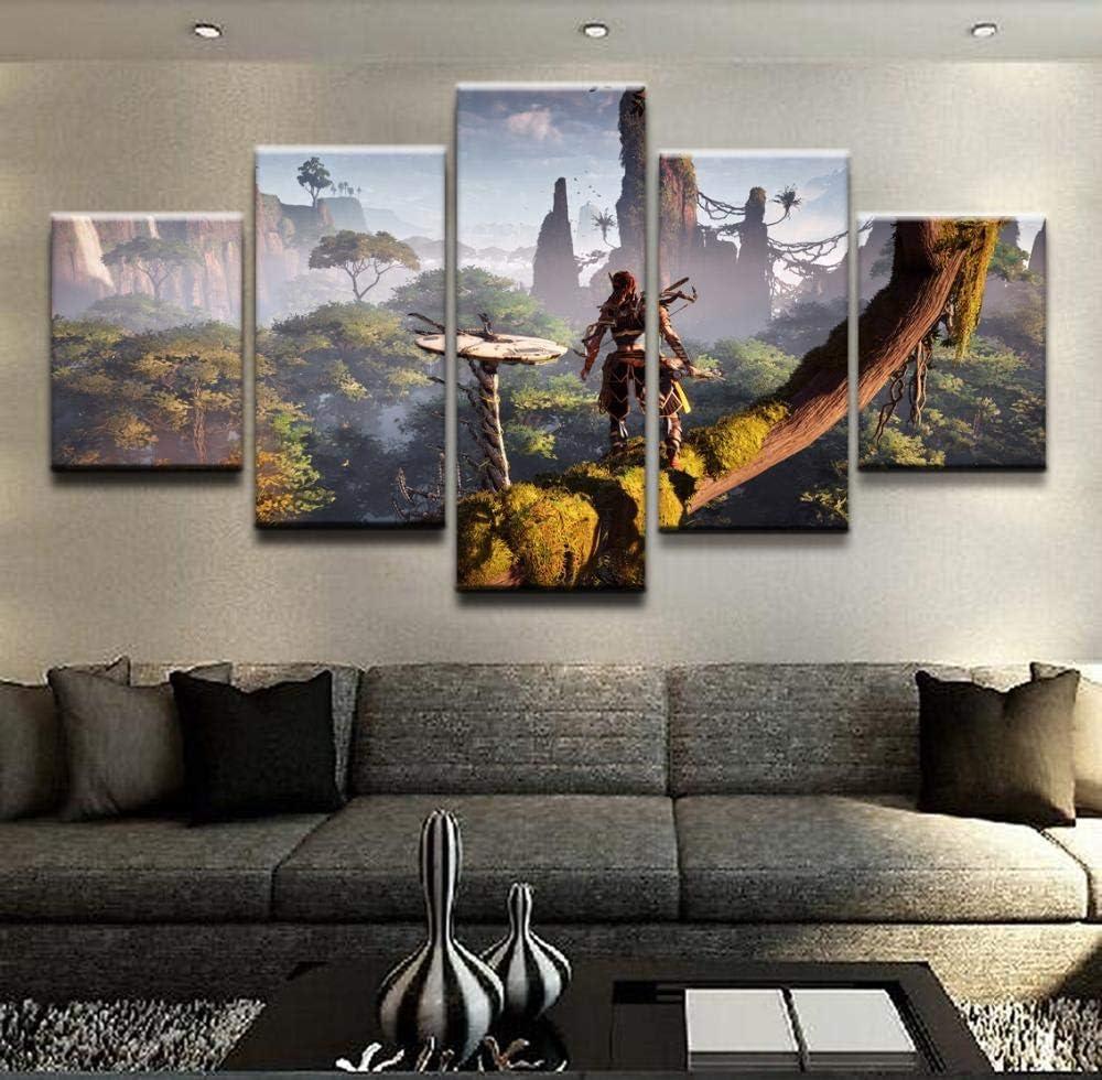 YDME Canvas Prints Art Modular Wall Sticker Decor,Prints On Canvas,5 Piece Painting,Mural Poster,Hd Print-Horizon Zero Dawn Aloy5 Panel Canvas Art Wall Decor-100x55cm