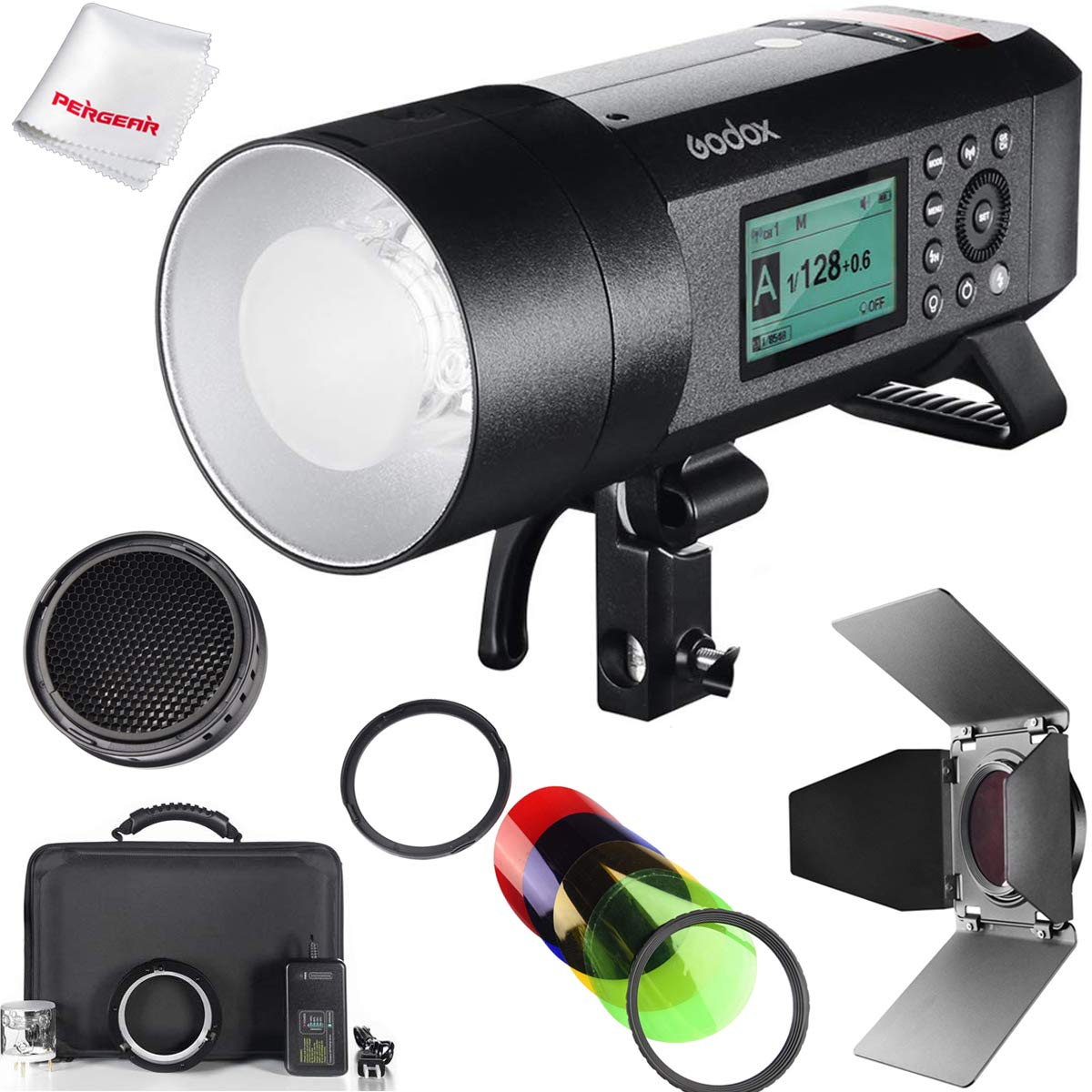 Godox AD400Pro Godox AD400 Pro with Barndoor Honeycomb Grid Color Filter Kit, 400W GN72 2.4G TTL Flash Strobe, 1/8000 HSS, 390 Full Power Pops, 0.01-1s Recycle Time, 30w LED Modeling Lamp by Godox