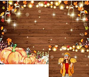 Allenjoy 7x5ft Autumn Pumpkins Photography Backdrop Rustic Wood Glitter Lights Maple Leaves Background for Fall Thanksgiving Birthday Baby Shower Bridal Wedding Party Decor Banner Photo Booth Props