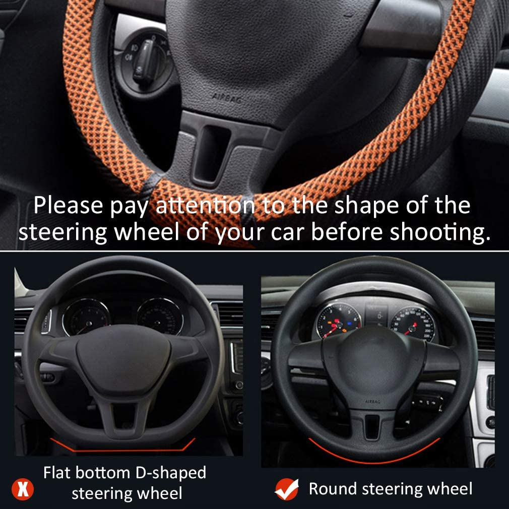 Pahajim Leather Car Steering Wheel Cover Universal 15 inch//38CM Breathable Anti-slip Protector for Man and Woman(2-Grey