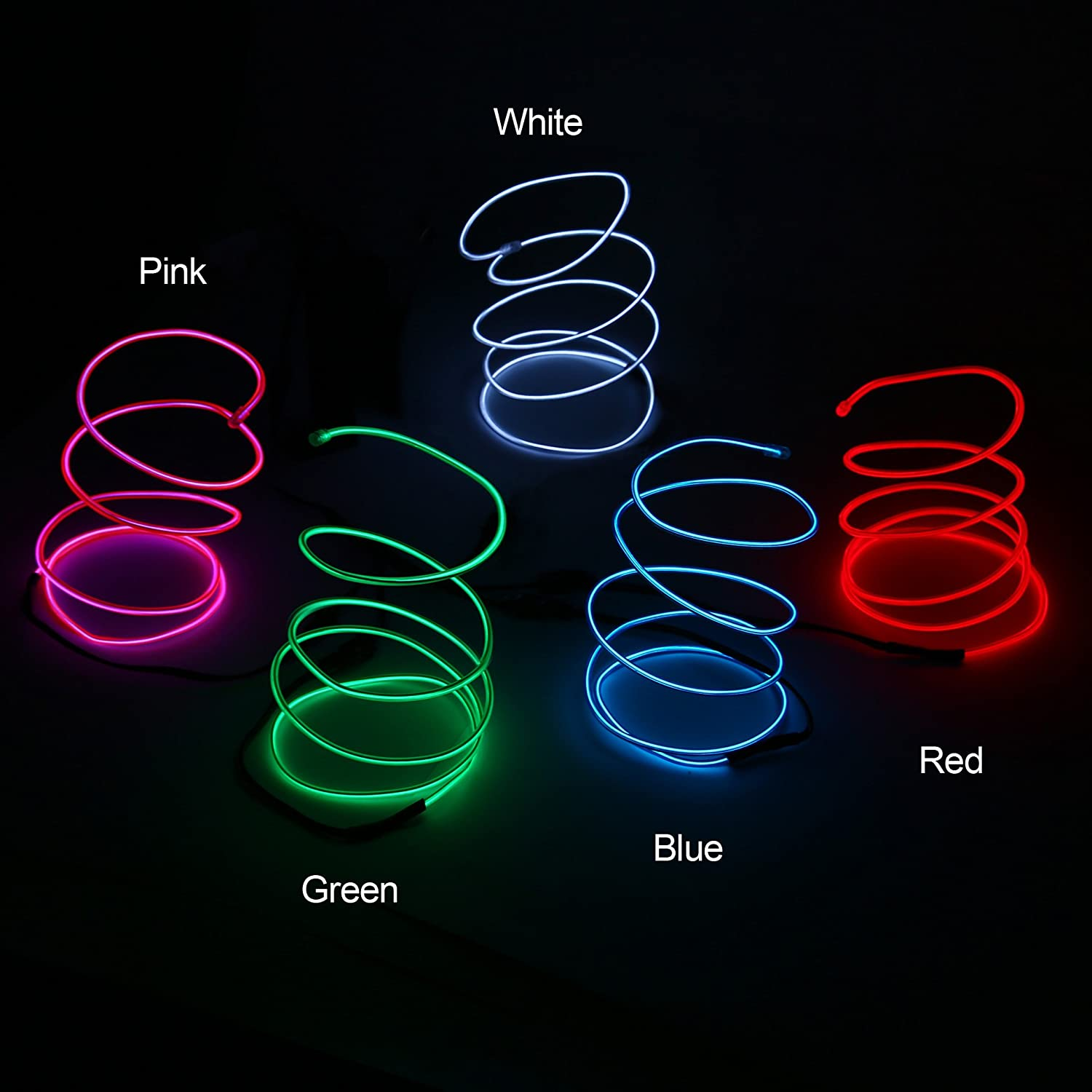 Blazing Fun Shapable EL Wire, Neon Glowing Led Cable/EL Wire with AA Battery Inverter for Halloween Christmas Party DIY Decoration, 5 by 1 Meter(White/Blue/Red/Green/Pink)
