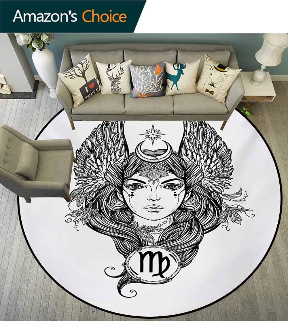 RUGSMAT Virgo Carpet Gray Round Area Rug,Black and White Monochrome Drawing of A Woman with Long Hair and Wings Horoscope Pattern Floor Seat Pad Home Decorative Indoor,Diameter-71 Inch by RUGSMAT (Image #2)