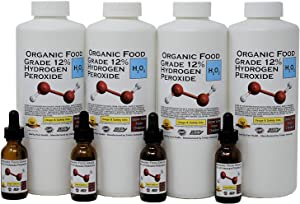 4 Quarts Organic TNL 12% Certified Food Grade Hydrogen Peroxide + 4 Pre-filled Dropper Bottles. Recommended by One Minute Cure & True Power of Hydrogen Peroxide. Shipped Fast. MADE IN USA
