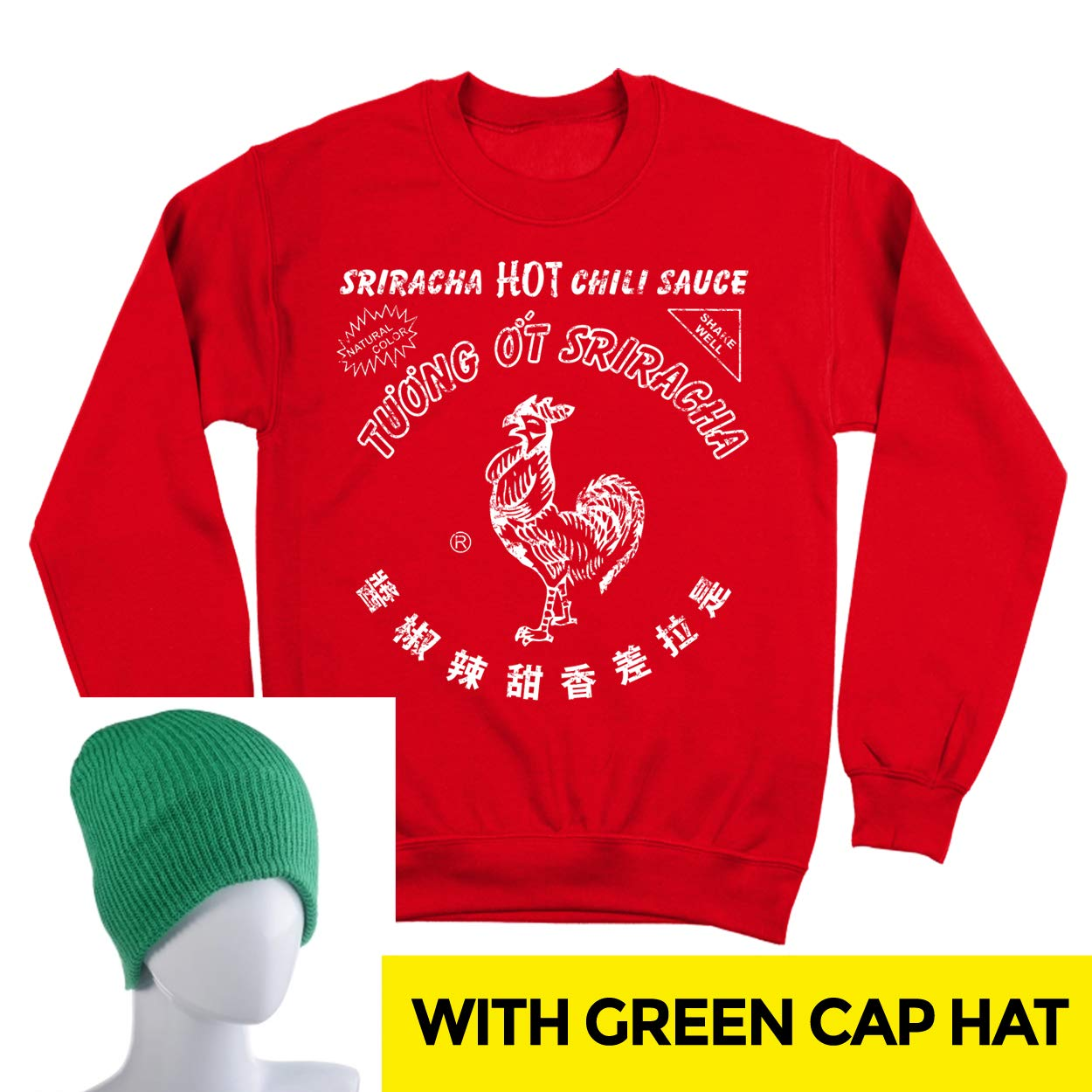 Sriracha Hot Chili Sauce Bottle Costume Outfit with Hat Mens Sweatshirt