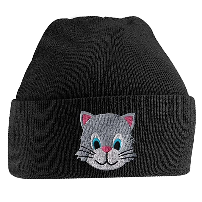 274d08551 Amazon.com: Beanie Hats for Men Kitten Face Beanies Embroidered ...