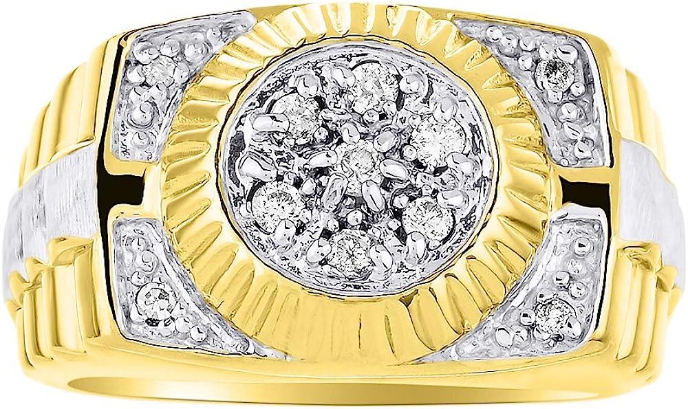 Anillo de diamantes para hombre de 14 quilates de oro amarillo o blanco anillo estilo Rolex