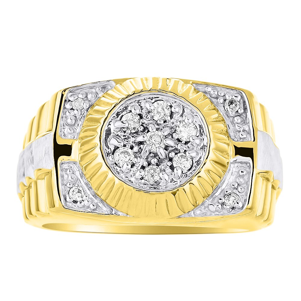 9bb1f2e2c3d34 Mens Diamond Ring 14K Yellow or White Gold Ring Band Rolex Style ...