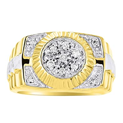 ba1cc40dfc33f4 Mens Diamond Ring 14K Yellow or White Gold Ring Band Rolex Style|Amazon.com