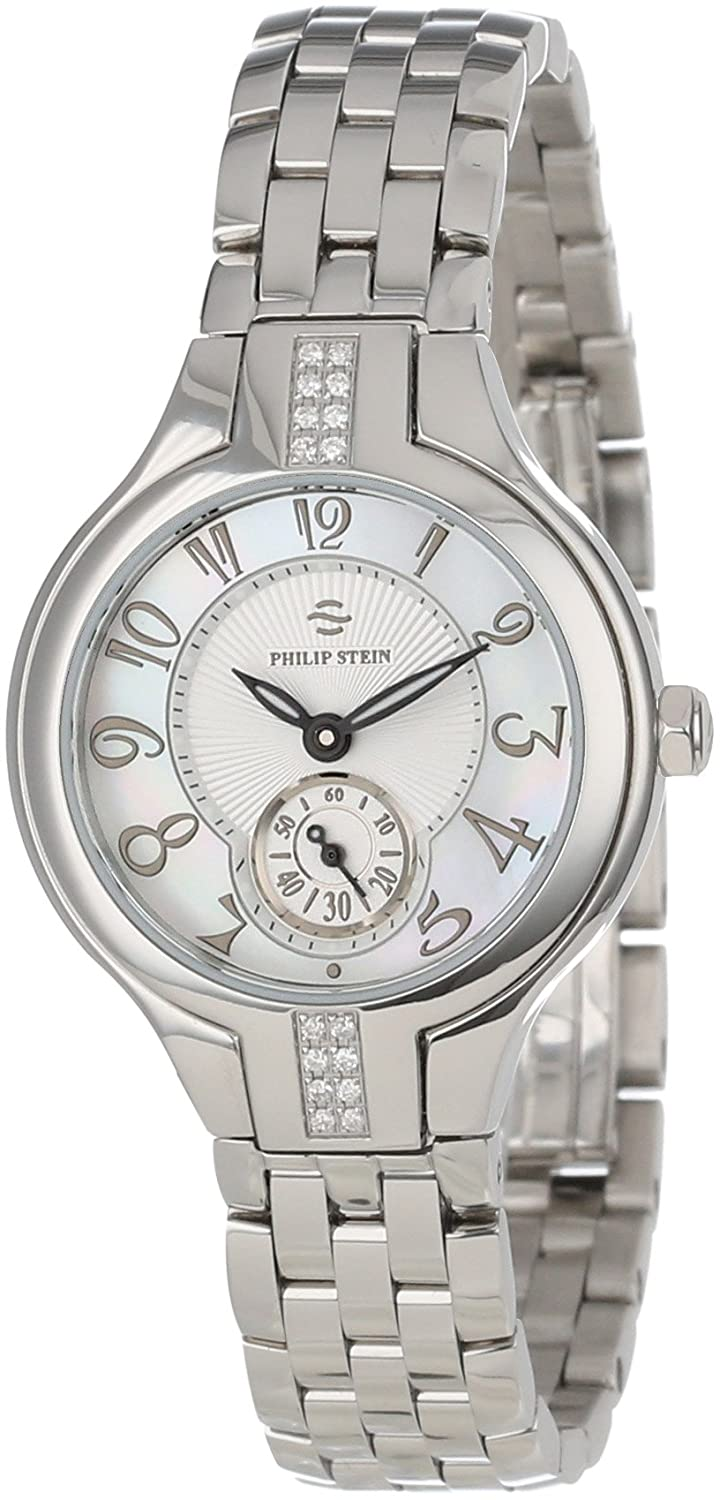 Philip Stein Women s 44SD-FMOP-SS5 Stainless Steel Watch with Diamond Studding and Link Bracelet